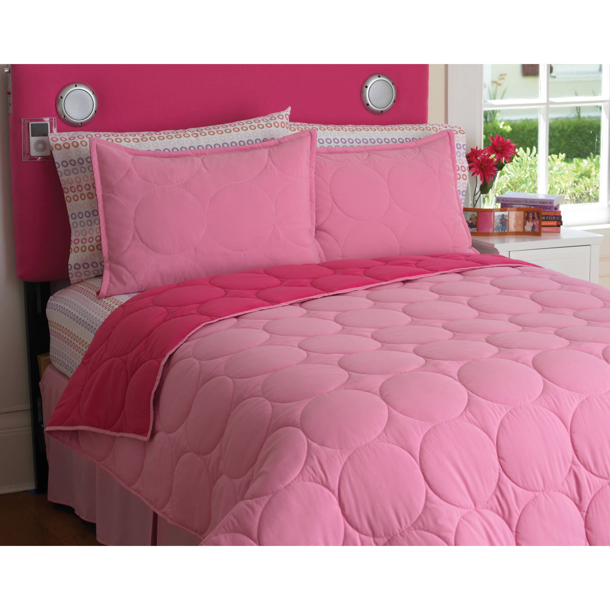your zone reversible comforter and sham set, pink stitch