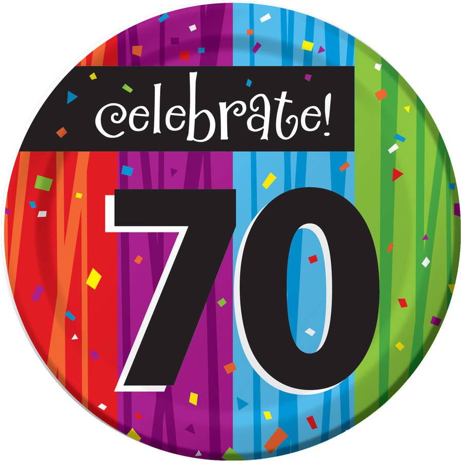 Milestone Celebrations 70th Birthday Dessert Plates, 8pk