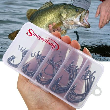 Sougayilang Fishing Hooks High Carbon Steel Worm Senko Bait Jig Fish Hooks with Plastic Box (50Pcs Jig Hooks with -