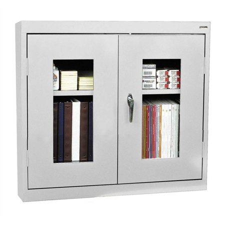 See-Thru Clearview Wall Cabinet w Fully Adjustable Shelves (Small - Dove Gray)