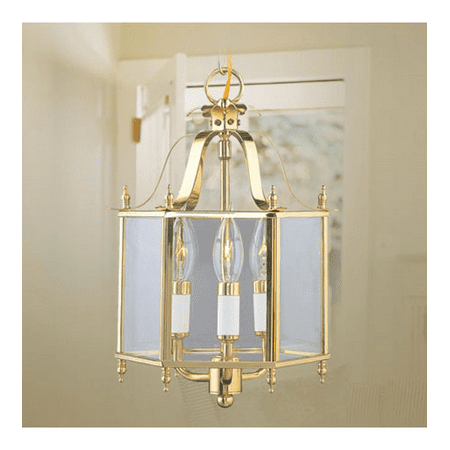 Pendants Porch 3 Light With Clear Beveled Steel Polished Brass size 10 in 180 Watts - World of Crystal