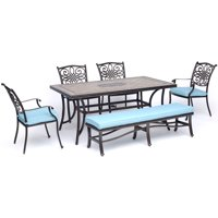"Hanover Monaco 6-Piece Dining Set in Blue with Four Dining Chairs, a Cushioned Bench, and a 40"" x 68"" Tile-Top Table"
