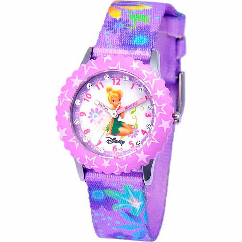 Disney Tinker Bell Girls' Stainless Steel Watch, Purple Strap