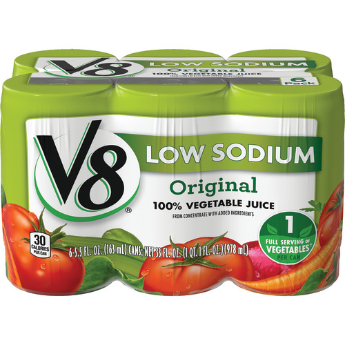 V8 Original Low Sodium 100% Vegetable Juice, 5.5 oz. , 6 pack
