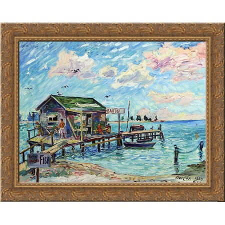 Quick Frozen Fish, Florida 24x20 Gold Ornate Wood Framed Canvas Art by David Burliuk