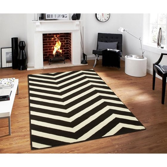 large chevron black white zig zag area rugs kitchen dining living room rug 8x11. Black Bedroom Furniture Sets. Home Design Ideas