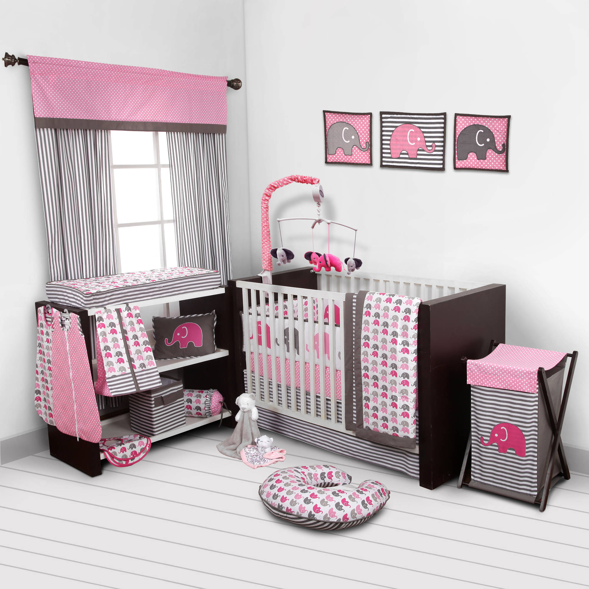 Bacati Elephants 10-Piece Nursery in a Bag Crib Bedding Set with Bumper Pad, Pink/Gray for US standard Cribs