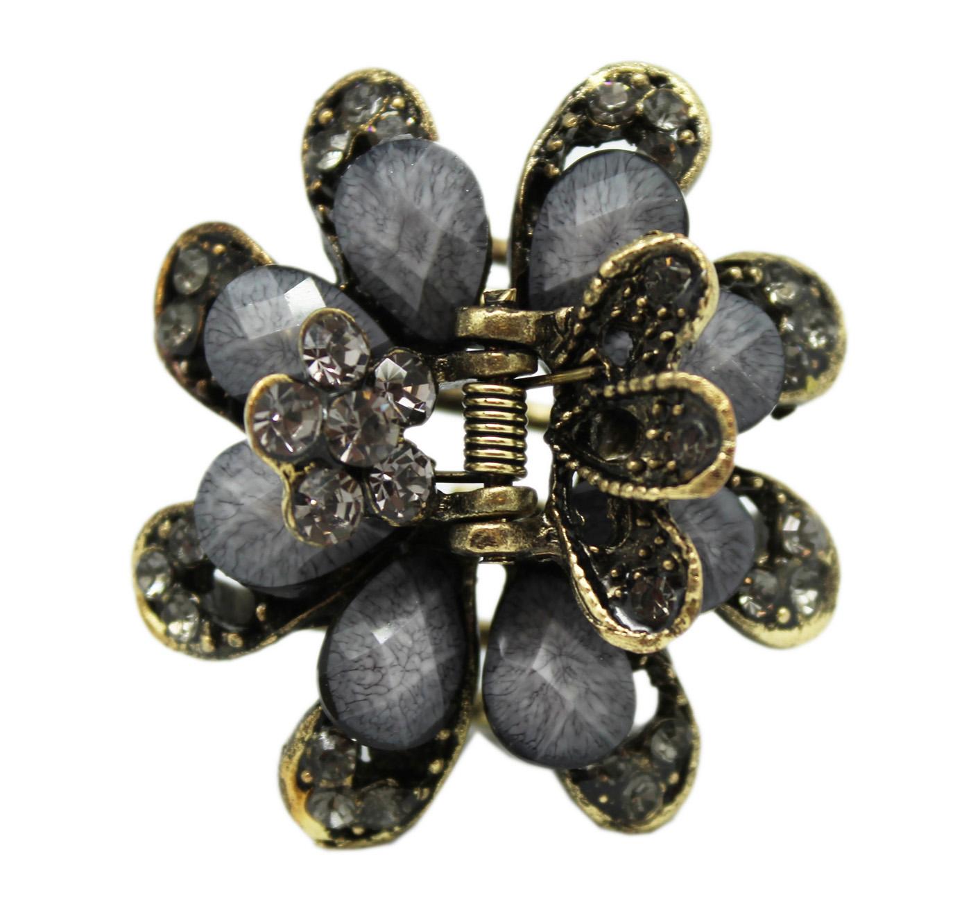 Bronze Flower Hair Claw Clip - Elegant Grey Rhinestone Hair Clip