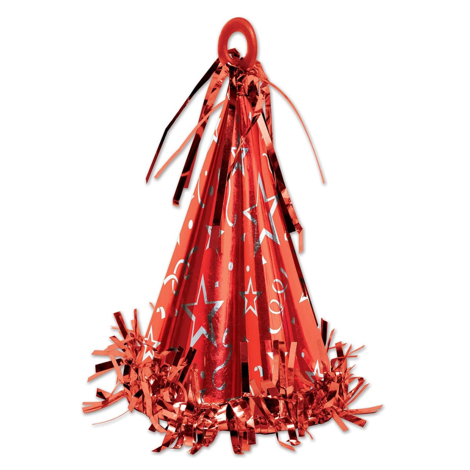Club Pack of 12 Red Party Hat Balloon Weight Decorative Birthday Centerpieces  6 oz.