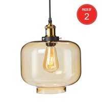 Southern Enterprises Marion Colored Glass Pendant Lamp in Amber (Pack of 2)