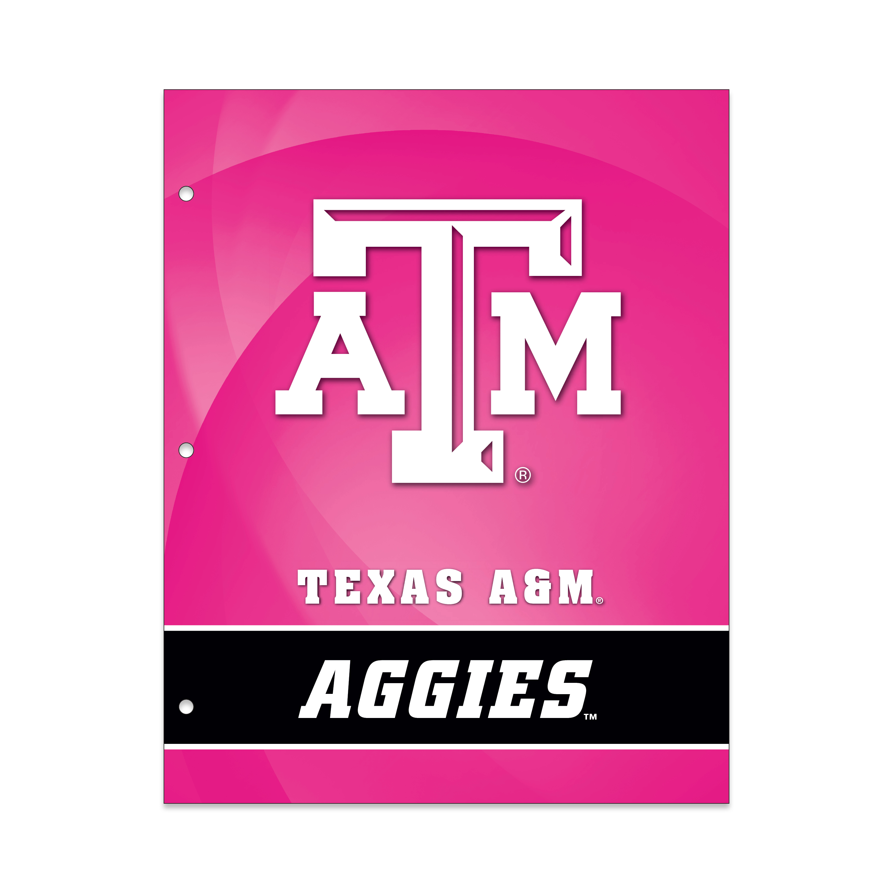 NCAA Texas A&M Aggies 2 Pocket Portfolio, Three Hole Punched, Fits Letter Size