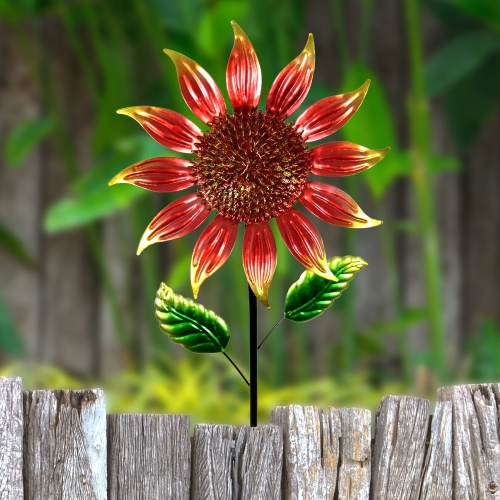 "Exhart Shimmering Garden Flower Stake, Lacquered Metal, Red, 18"" W by 60"" H."