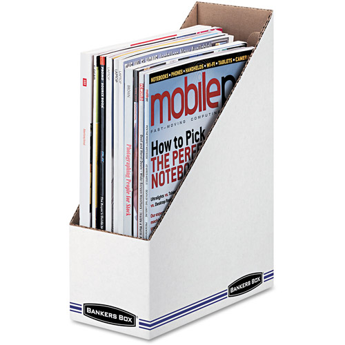 "Bankers Box Corrugated Cardboard Magazine File, 4"" x 9"" x 11-1/2"", Wood Grain, 12/Carton"