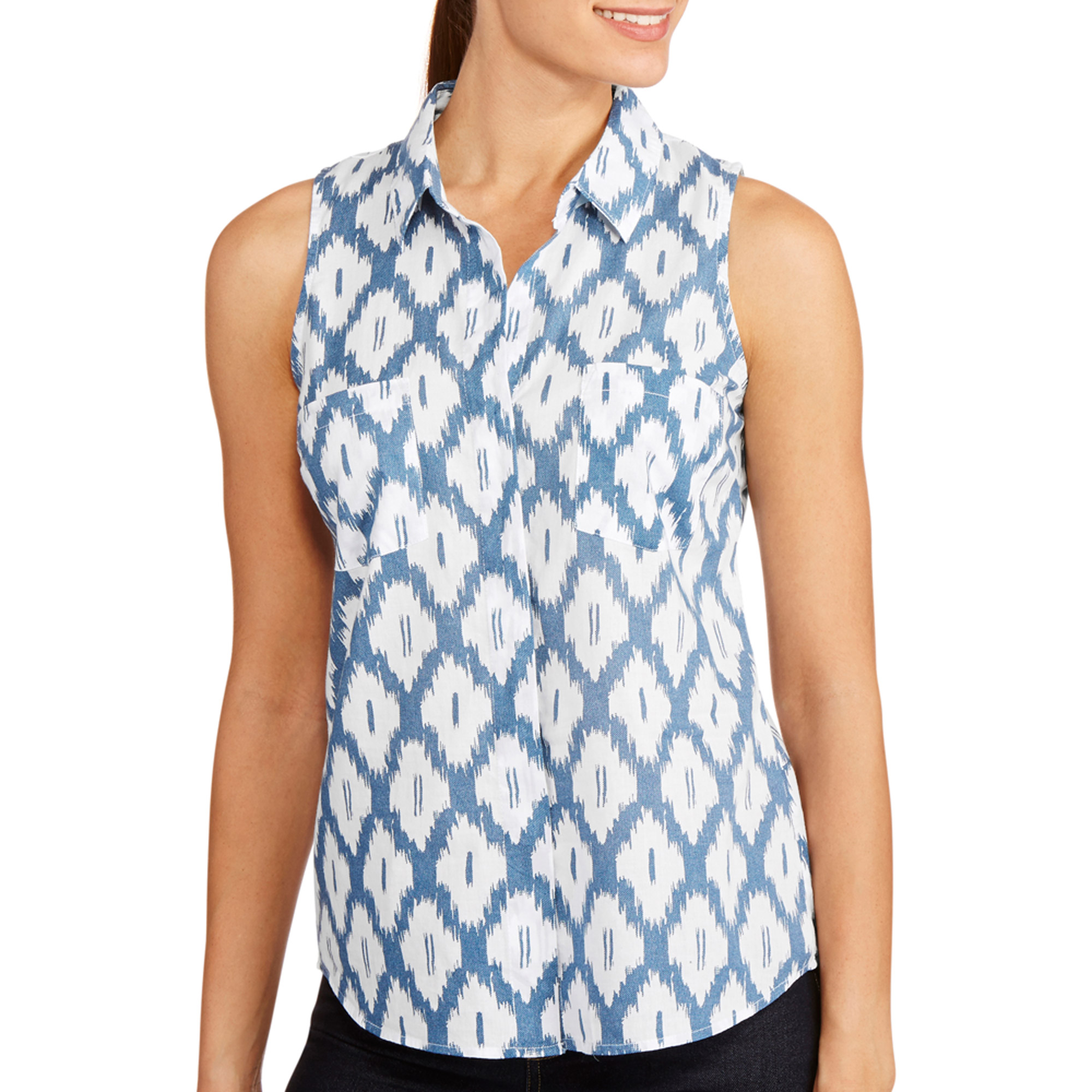 Faded Glory Women S Sleeveless Button Front Shirt