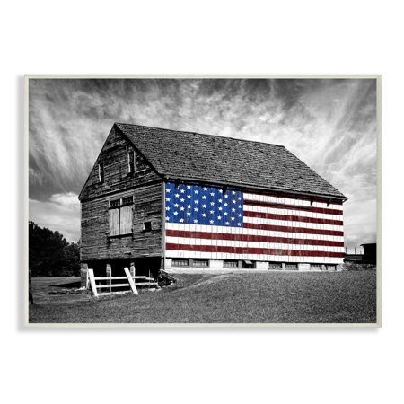 The Stupell Home Decor Collection Black and White Farmhouse Barn American Flag Wall Plaque Art, 10 x 0.5 x - Barn Dance Decor