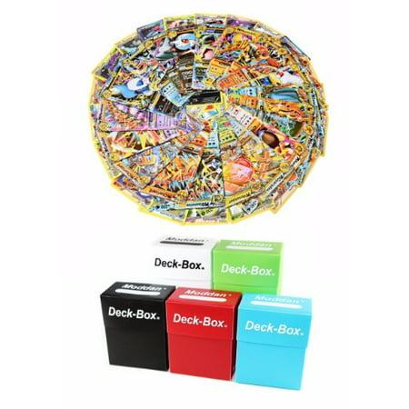 Deck Star Hole (Pokemon TCG 100 Card Lot Free Deck Box & Guaranteed EX, Mega, or Full Art Rare Common Uncommon Holo Black Star with Random)