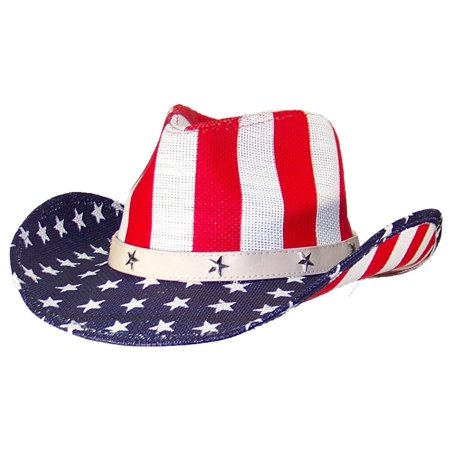 Tropic Hats - Tropic Hats Mens Patriotic U.S. Flag Cowboy Hat W Metal Stars  On Band (One Size) - Red White Navy Stars On Brim - Walmart.com c44626029a9