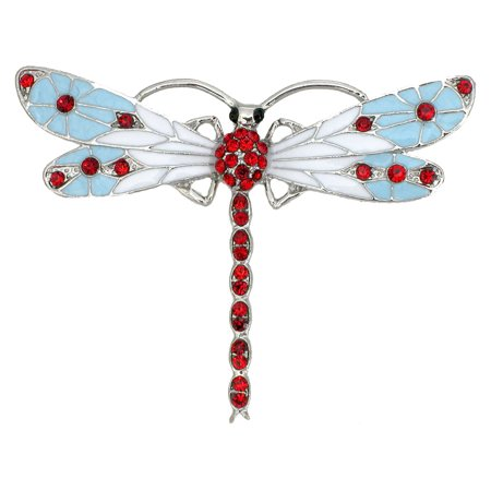 Austrian Crystal Dragonfly Pin - Gorgeous Crystal Dragonfly Pin Brooch - Red