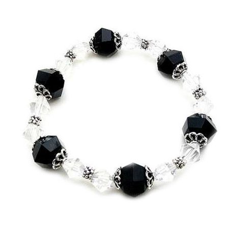 Lucite Bead Bracelet - Classic Black and White Lucite Bicone Bead Stretch Fashion Bracelet