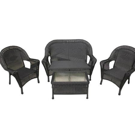 4 Piece Black Resin Wicker Patio Furniture Set 2 Chairs Loveseat