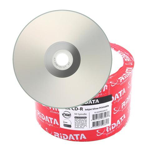 50 Ritek Ridata 52X CD-R 80min 700MB Silver Inkjet Hub Printable
