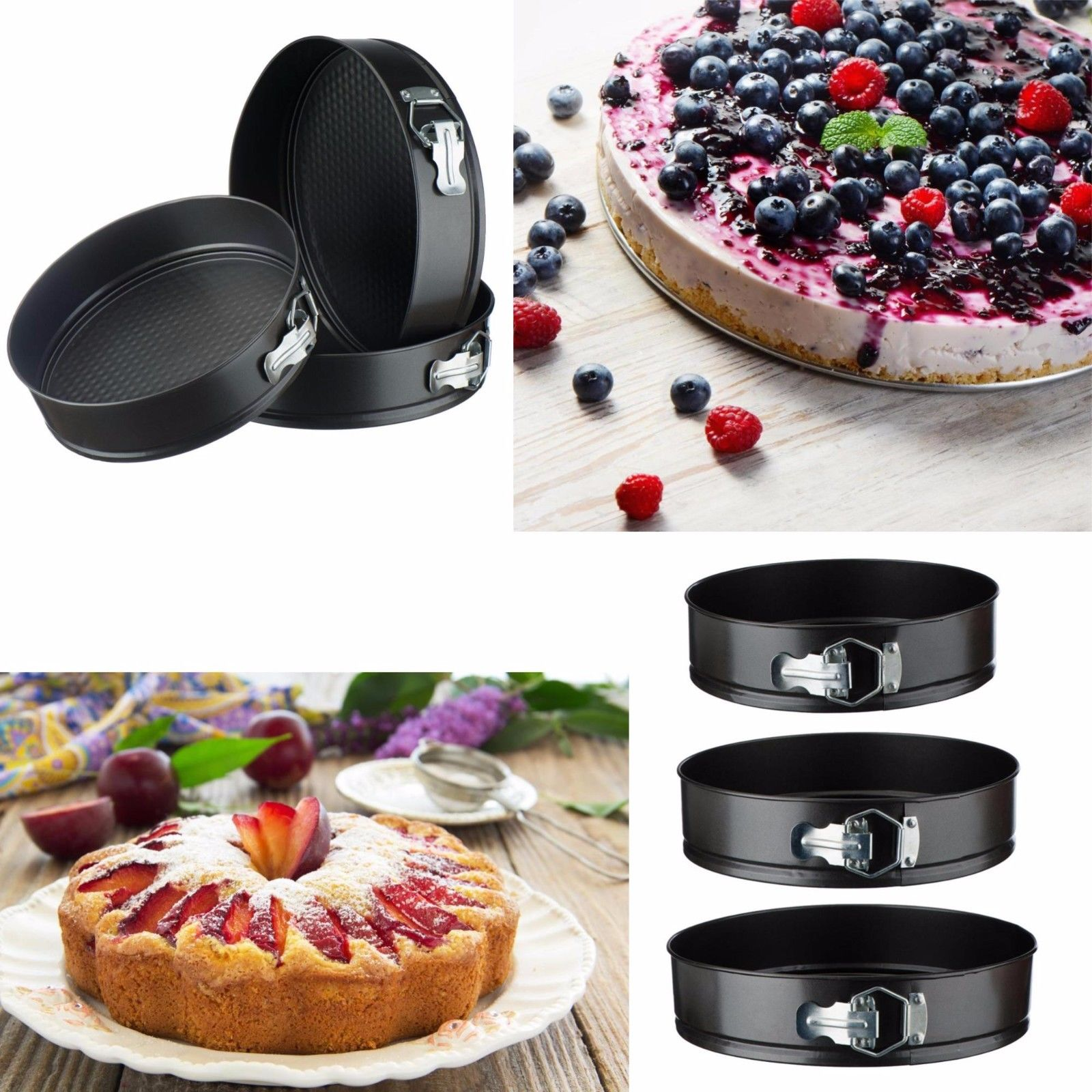 3 pc Round Cake Pan Springform Baking Tins Set Wedding Birthday Bakeware