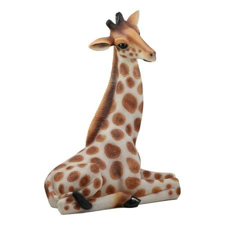 Ebros Large Madagascar Wildlife Sitting Giraffe Statue 19.5
