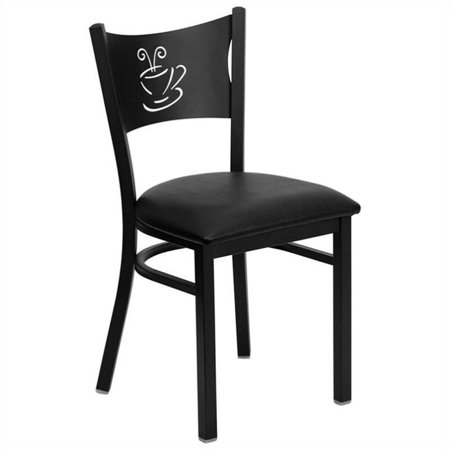 Bowery Hill Coffee Back Metal Dining Chair in Black - image 2 de 2
