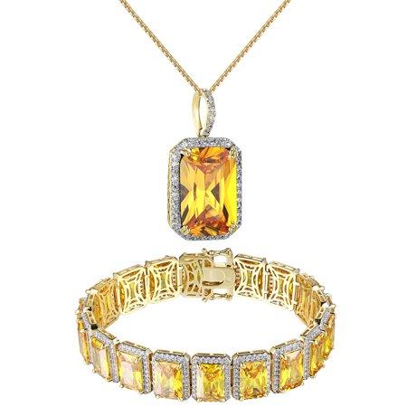 Canary Solitaire Ruby Cz Pendant Bracelet Combo Free 24  Chain Lab Diamonds Rapper