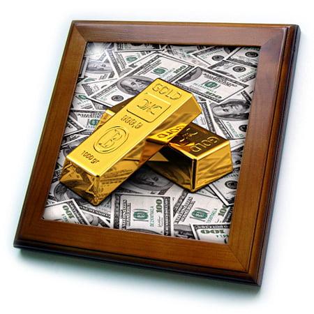 3dRose Gold bars bar bullion cash money dollar hundred bill bills bank note banknote finance concept - Framed Tile, 6 by 6-inch