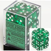 Chessex Dice d6 Sets: Green with White Translucent - 16mm Six Sided Die (12) Block of Dice