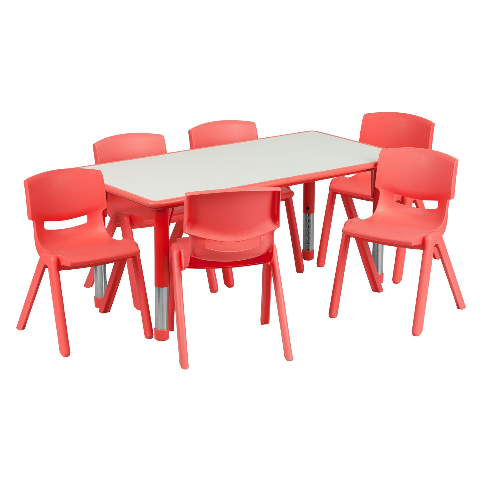 Flash Furniture 23.625''W x 47.25''L Adjustable Rectangular Plastic Activity Table Set in Multiple Colors with 6 School Stack Chairs, Grey