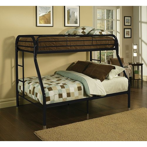 Zoomie Kids Kelm Metal Tube Twin Over Full Bunk Bed with Built-In Ladders and Full-Length Guard Rails