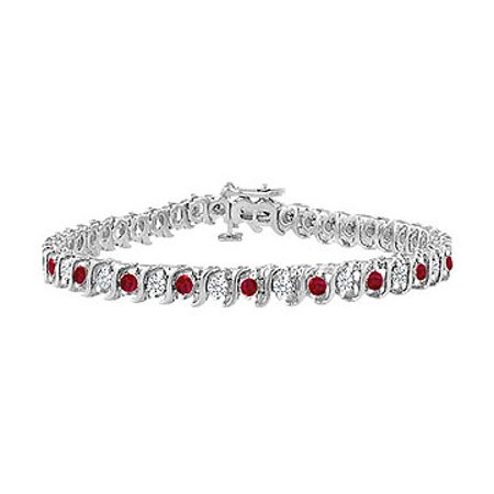 Created Ruby and Cubic Zirconia Tennis Bracelet with 5.00 CT TGW on 14K White Gold