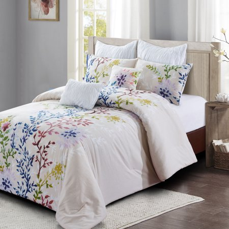 Dahlia Lane 7pc Comforter Set Multi Color Fl Stems With White Leafy Silhouettes