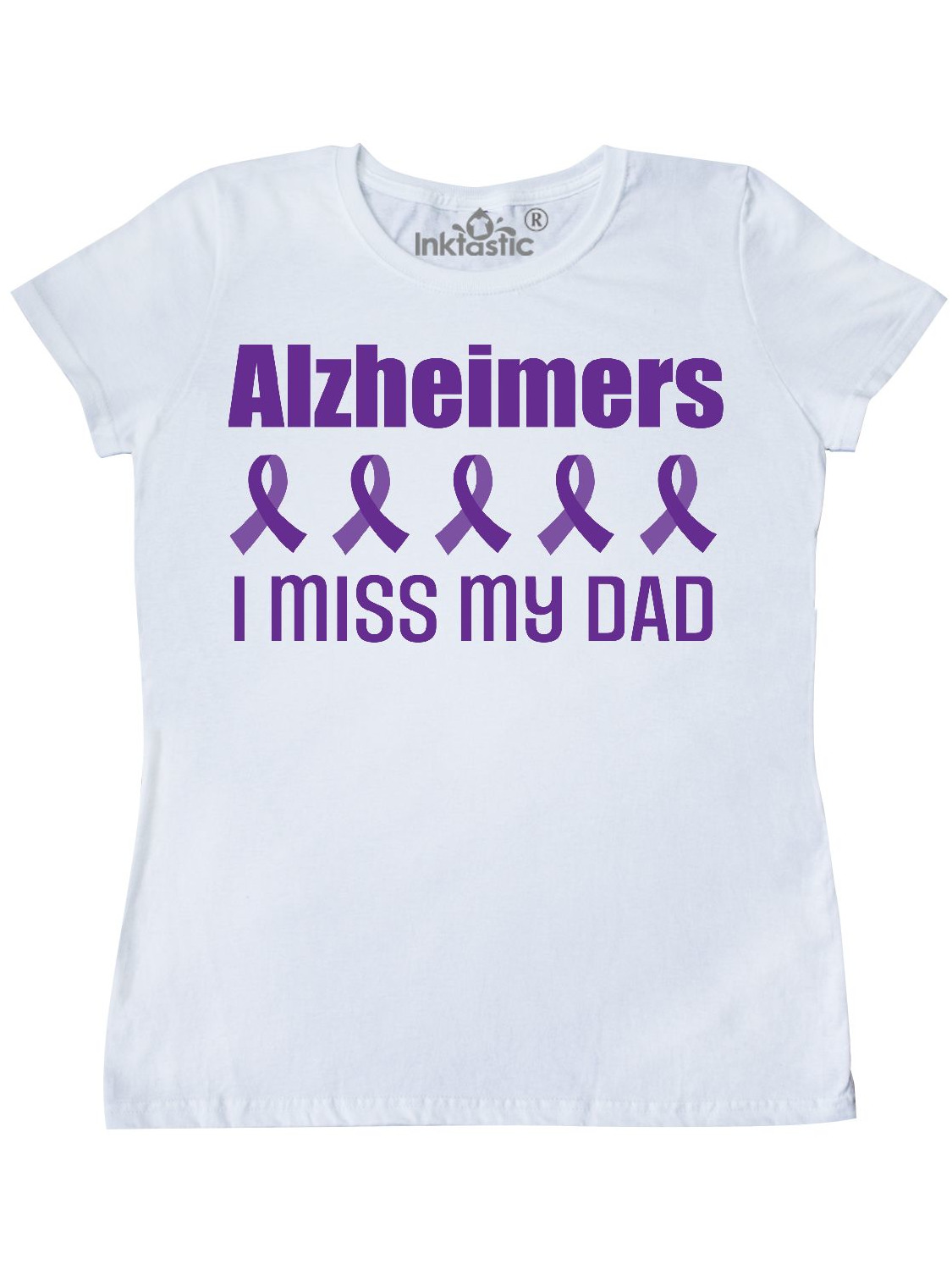 Alzheimers Awareness Women/'s V-Neck T-Shirt Inktastic I Wear Purple For My Dad