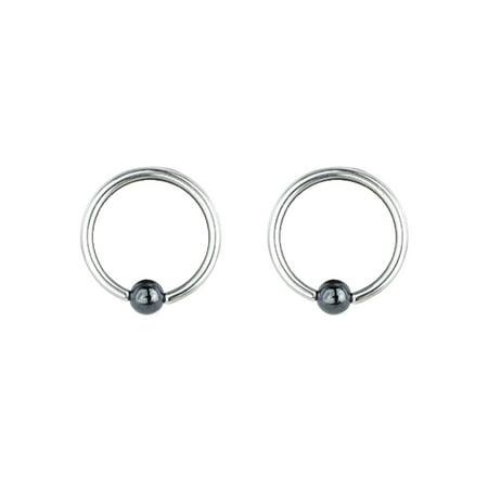 Pair of Steel Captive Bead Ring w/4mm Hematite Ball 14 Gauge 3/8