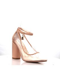 c011fcaabfce Cape Robbin Rizzo-1 Rose Gold Satin Pointed Lucite Clear Block Heel Ankle  Pump (