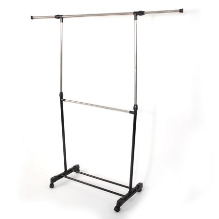 Ktaxon  Adjustable Rolling Clothes Rack Single Rail Hanging Garment Bar Heavy (Bar Clothes Hanger)