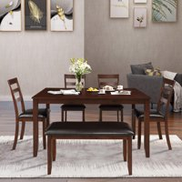 Harper & Bright Designs 6-Piece Dining Room Table Set with 4 Ladder Chairs and Bench, Brown