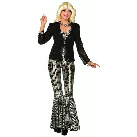 Black Sequin Womens Adult 80S Disco Halloween Costume Blazer-Std