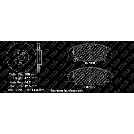 Max Brakes Front Premium Brake Kit [ OE Series Rotors + Metallic Pads ] TA034341 | Fits: 2009 09 2010 10 2011 11 Honda Civic Si Cpe - image 2 de 8