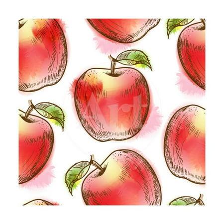 Pattern with Red Apple Print Wall Art By Elena Terletskaya