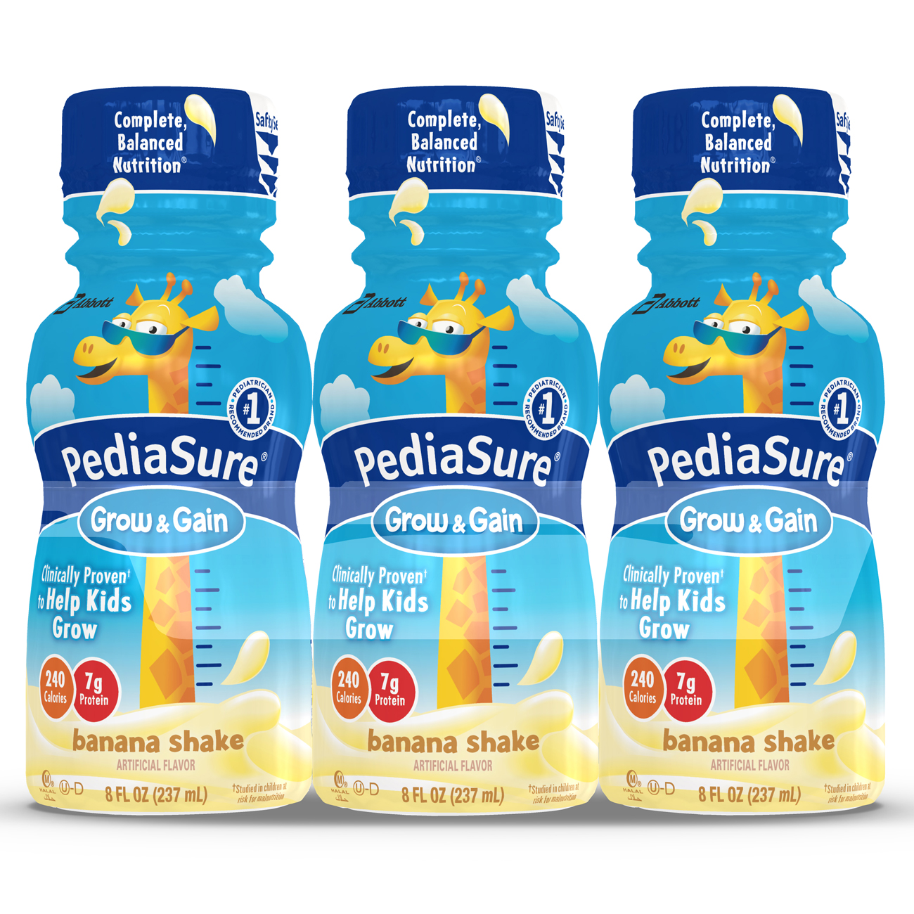 PediaSure Grow & Gain Nutrition Shake For Kids, Banana, 8 fl oz (Pack of 24)