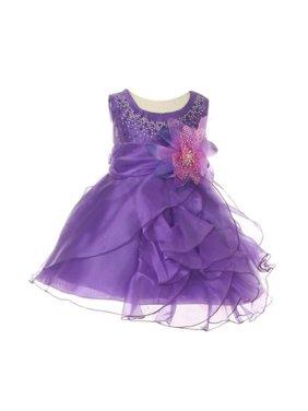 45746126888 Product Image Baby Girls Purple Crystal Organza Cascade Ruffle Dress 24M