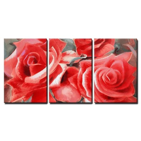 Hand Painted Wall Panels - wall26 - 3 Piece Canvas Wall Art - Red Roses Motif Hand Painted Oil on Canvas - Modern Home Decor Stretched and Framed Ready to Hang - 24