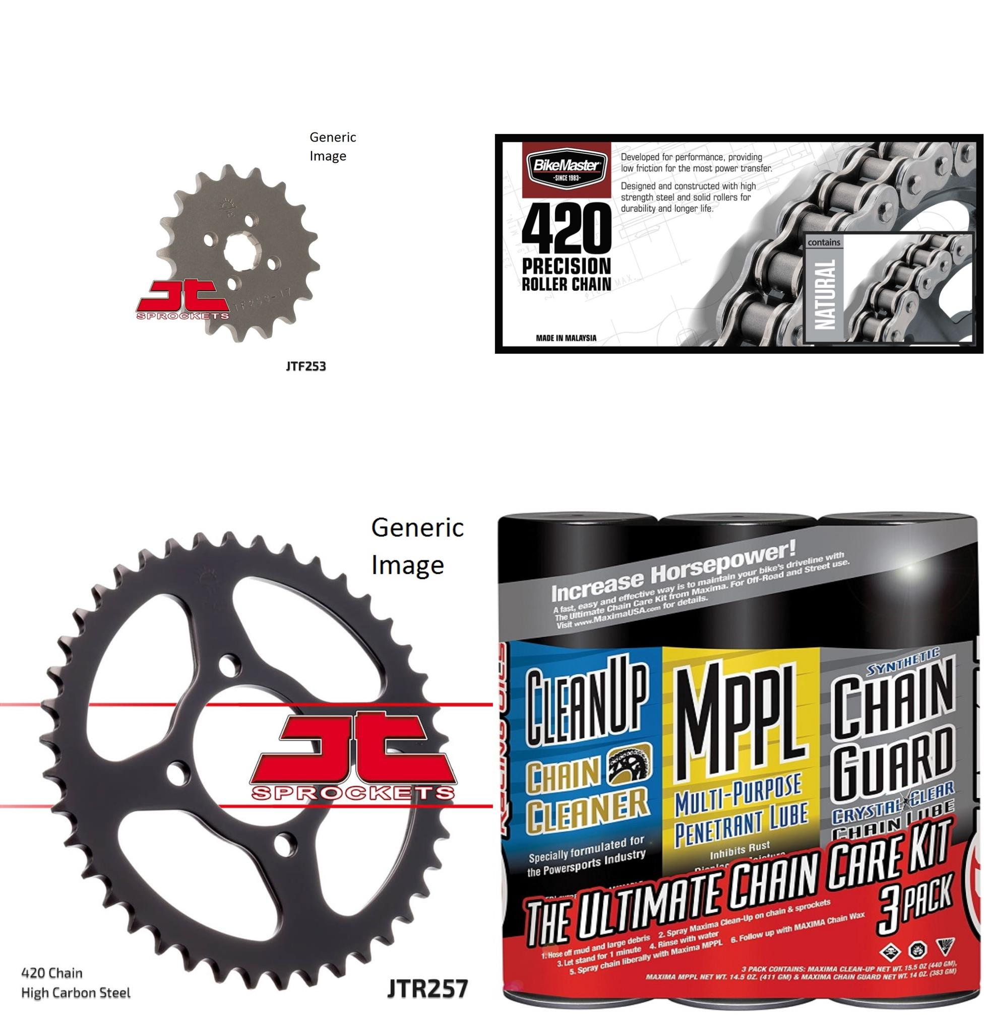 BIKEMASTER 420 Precision Roller Chain Natural with MAXIMA Wax, JT Front & Rear Sprocket Kit for Street HONDA C70 1980-1981