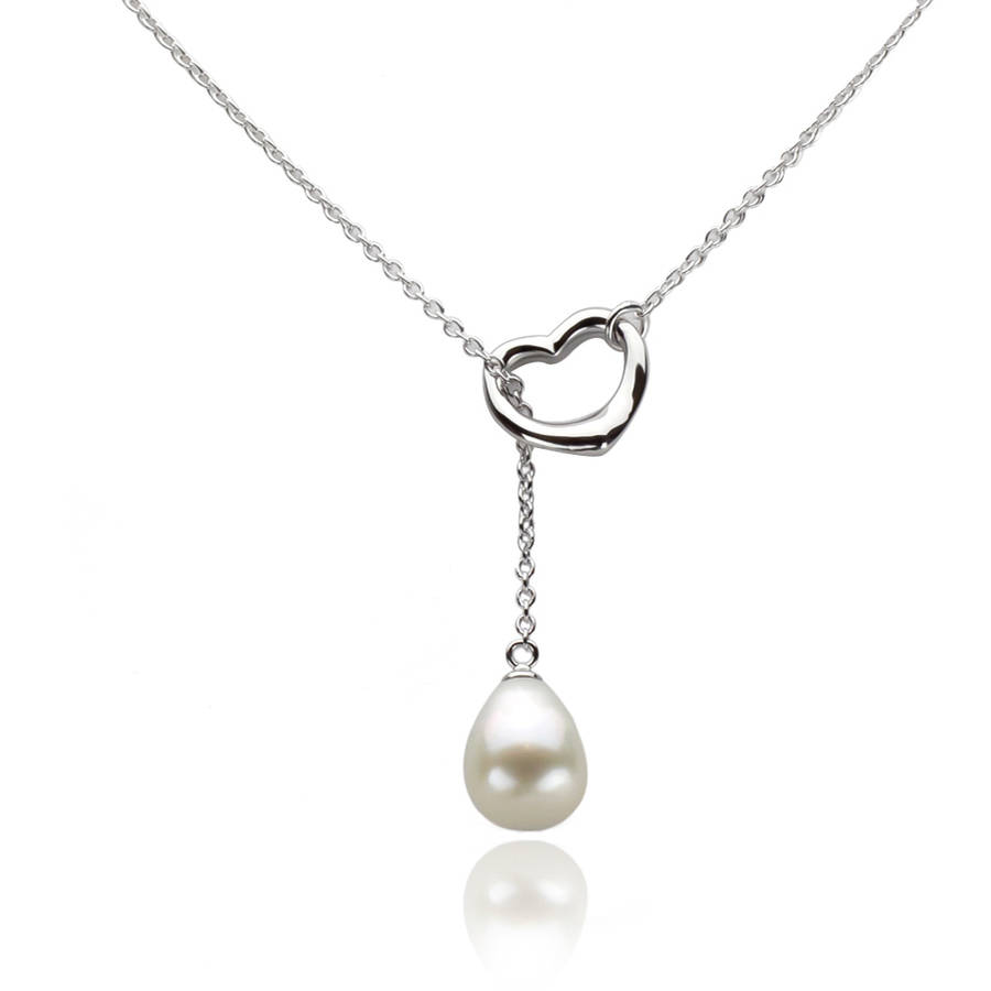 10-11mm White Freshwater Pearl and Sterling Silver Heart Chain Necklace by Generic