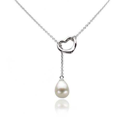 Image of 10-11mm White Freshwater Pearl and Sterling Silver Heart Chain Necklace