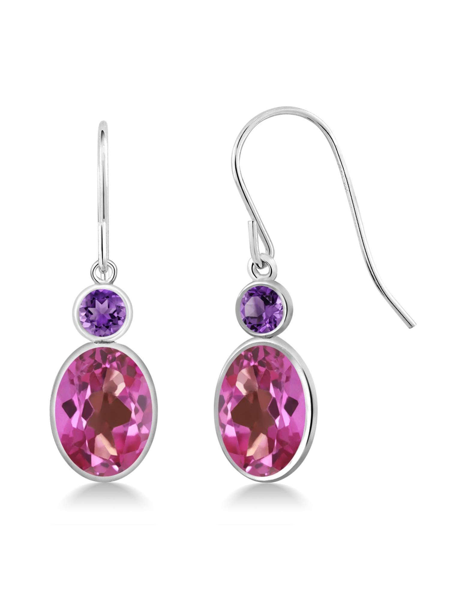 3.20 Ct Oval Pink Mystic Topaz Purple Amethyst 14K White Gold Earrings by